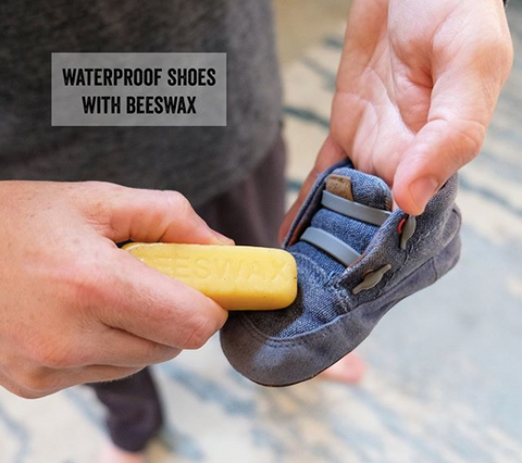 Serenity Kids Parenting Hack, rubbing beeswax to waterproof shoes.