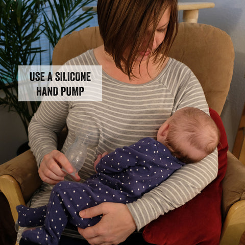 Serenity's Breastfeeding Hack - using a silicone hand pump, like the Haakaa