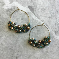 OOAK Gemstone or Freshwater Pearl Beaded Cluster Hoop Earrings