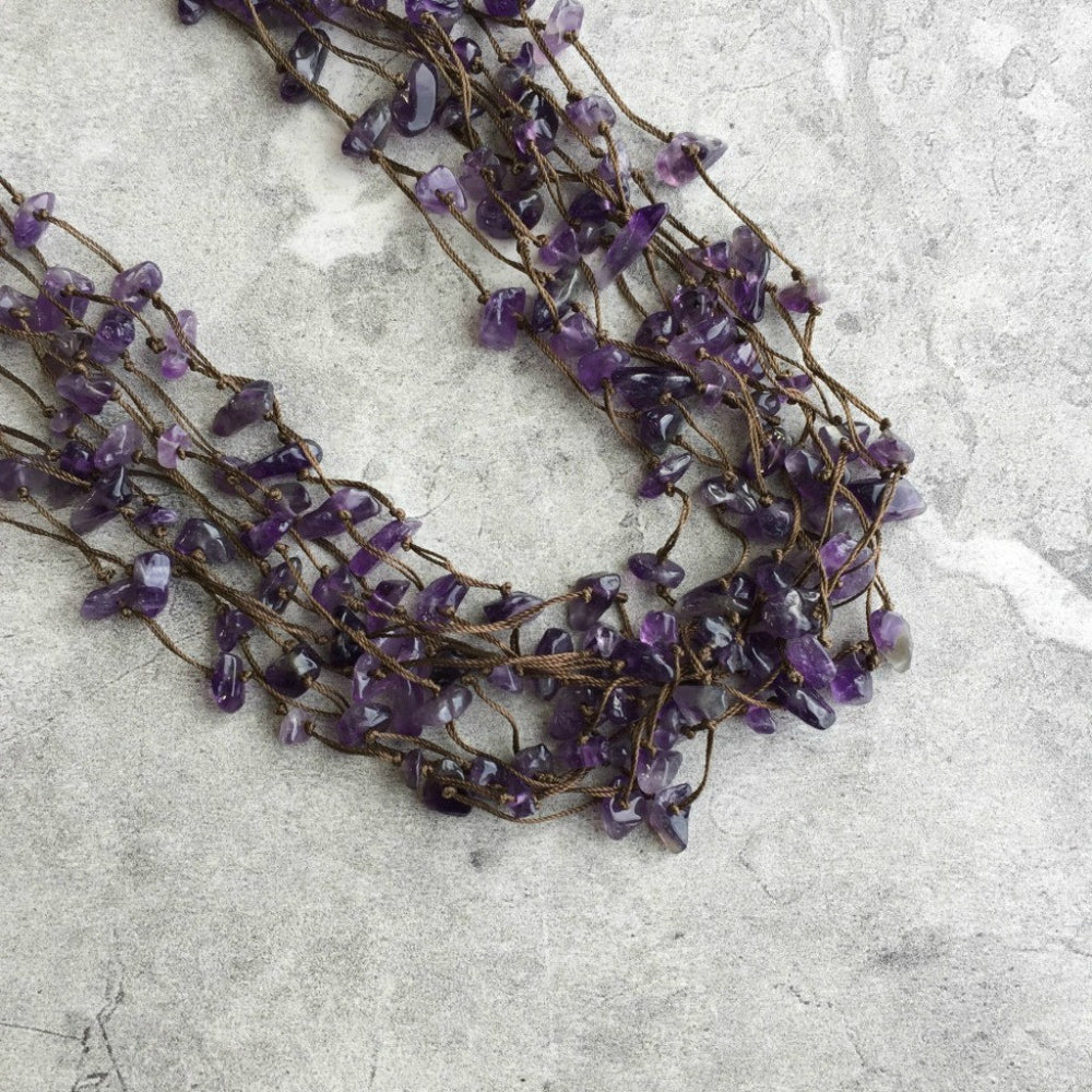 OOAK Silk Knotted Gemstone Multistrand Necklace