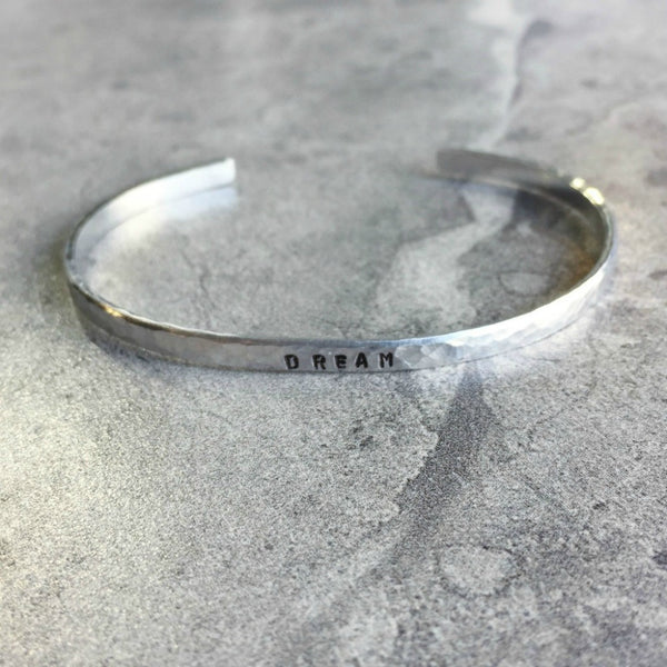 hammered silver hand stamped personalized thin cuff bracelet