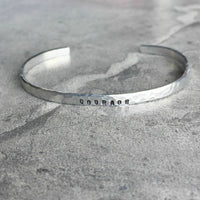 hammered silver hand stamped personalized skinny cuff bracelet