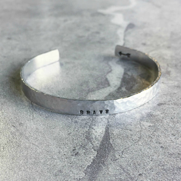 hammered silver hand stamped personalized cuff bracelet