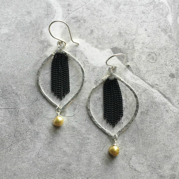 green olive Freshwater Pearl Petal Hoop Earrings in Hammered Sterling Silver with Black Chain Tassel