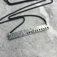 hammered silver long bar necklace personalized hand stamped on delicate black chain