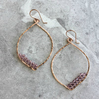 Amethyst Purple Crystal Petal Hoop Earrings in Hammered Copper