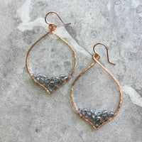 OOAK Small Petal Hoop Earrings with Czech Preciosa Crystals - Bottom Point