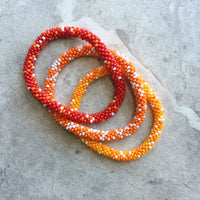 Set of 3 - OOAK Beaded Crochet Bangle Bracelets