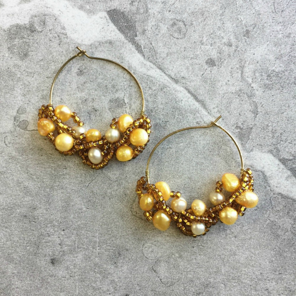 Yellow Freshwater Pearl gold beaded hoop earrings