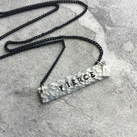 hammered silver small bar necklace personalized hand stamped on delicate black chain