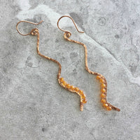 OOAK Wave Dangle Earrings with Czech Preciosa Crystals