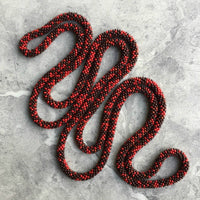 long continuous beaded crochet rope necklace in red and brown