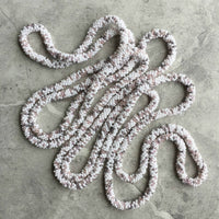 long continuous beaded crochet rope necklace in white, grey and pink