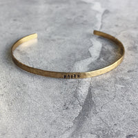 "Hammered Brass Hand Stamped Personalized Cuff Bracelet 1/8"" wide"