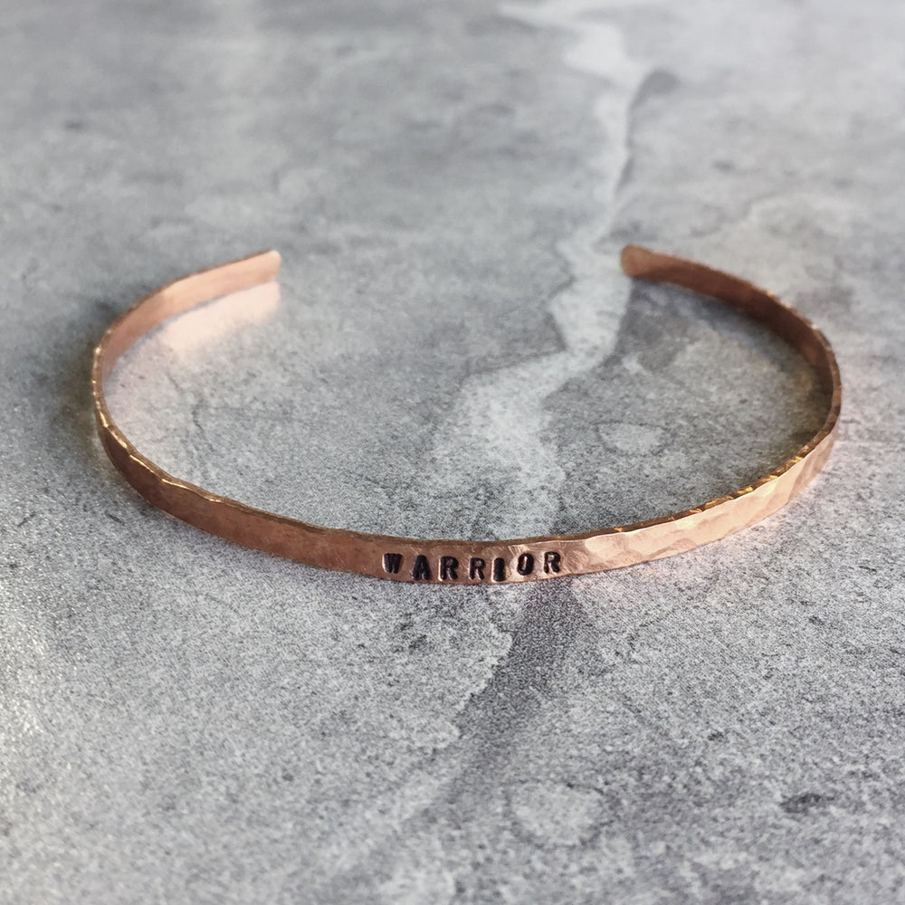 "Hammered Copper Hand Stamped Personalized Cuff Bracelet 1/8"" wide"
