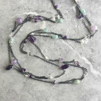 Amethyst, Aquamarine and Clear Quartz Gemstone Long Endless Necklace on Delicate Black Chain