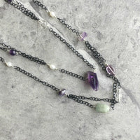 Amethyst, Aquamarine and Clear Quartz Wire Wrapped Endless Necklace on Delicate Black Chain