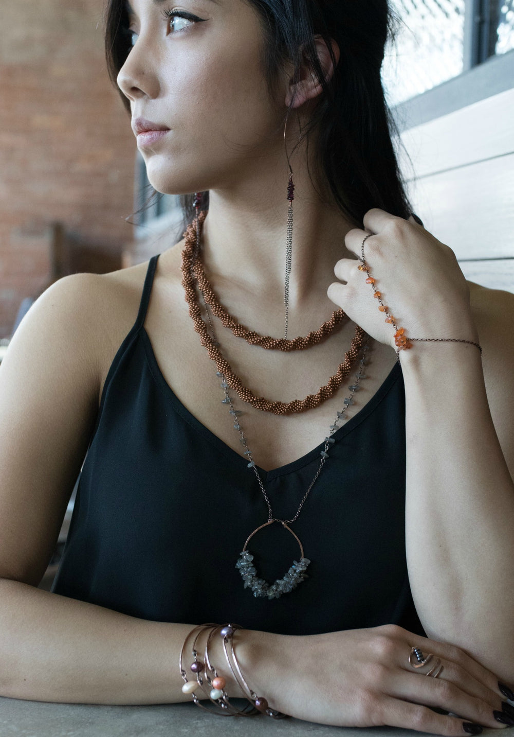 Long Continuous Beaded Crochet Rope Necklace in Shades of Silk Deep Copper Brown and Silver 45""