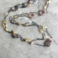 Citrine and Pink Rhodonite Gemstone Long Endless Necklace on Delicate Black Chain