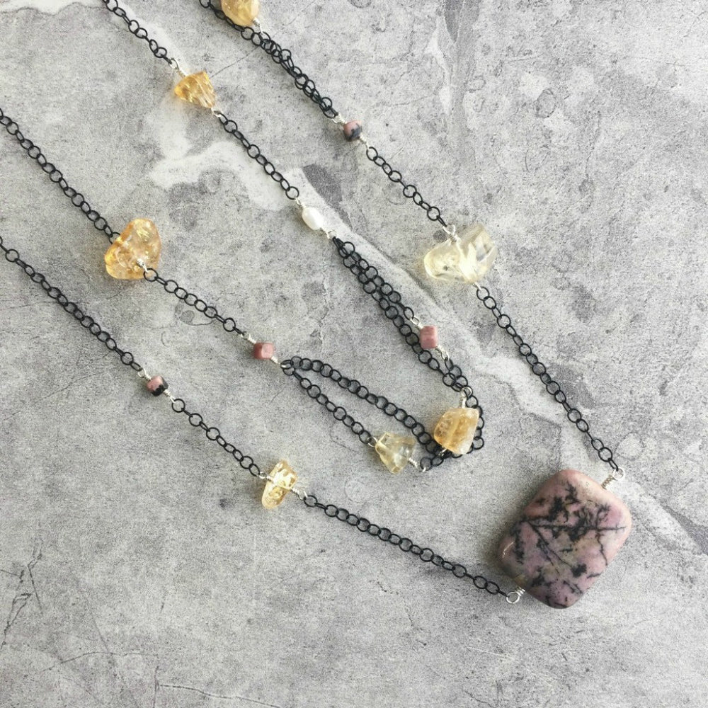 Citrine and Pink Rhodonite Sterling Silver Wire Wrapped Endless Necklace on Delicate Black Chain