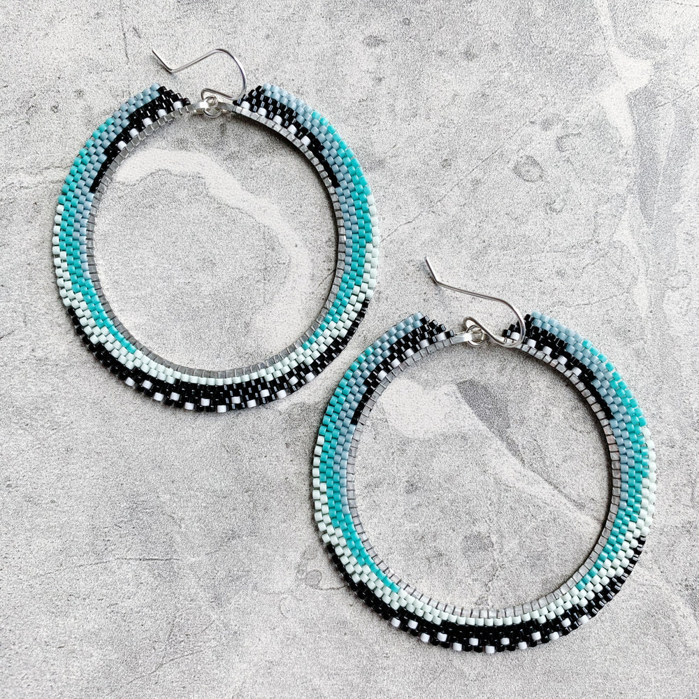Brick Stitch Hoop Earrings Large