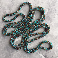 Long Continuous Beaded Crochet Rope Necklace in Shades of Turquoise and Neutrals 75""