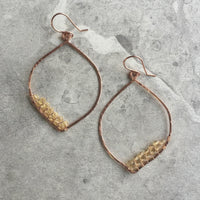 OOAK Small Petal Hoop Earrings with Czech Preciosa Crystals 2.75""