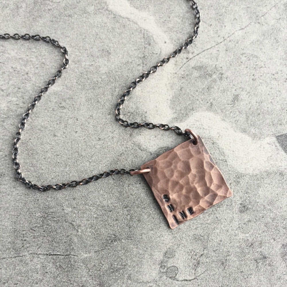 Hand Stamped Copper Square