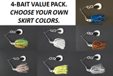 Cyclebait Swingback 1/2-oz with 5+ blade - Custom Four Bait Value Pack - Click then enter your skirt colors