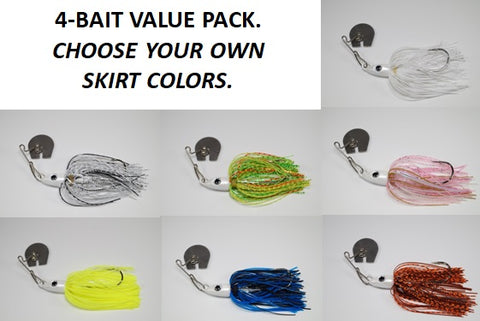 Dive Blade 1/2 OZ - Custom Four Bait Value Pack - Click then enter your skirt colors
