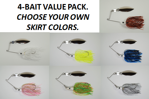 Cyclebait FLASH 3/8 oz - Custom Four Bait Value Pack - Click then enter your skirt colors