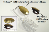 Cyclebait® ELITE - 1/2 OZ - JUMBO Hammered Brass Indiana Blade - Click then select skirt color