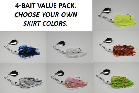 Cyclebait ELITE 1 OZ MICRO BLADE - Custom Four Bait Value Pack - Click then enter your skirt colors