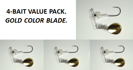 Cyclebait Sidewinder 1/2 oz - Four Bait Value Pack - GOLD COLOR blade