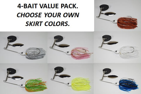 Topsmacker 3/8 OZ - Custom Four Bait Value Pack - Click then enter your skirt colors
