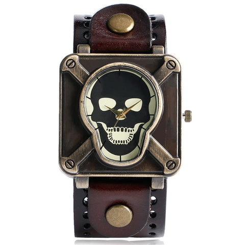 Women Skull Watch with Leather Band Strap
