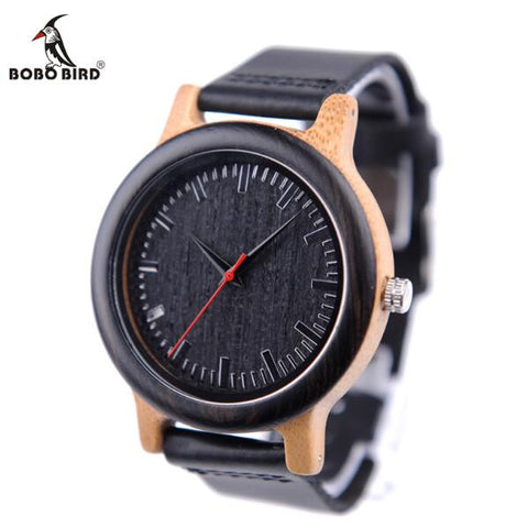 BOBO BIRD Mens Wooden Quartz Watch with Real Leather Strap