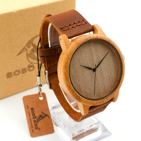 BOBO BIRD Men's Bamboo Watch With Genuine Cowhide Leather Band