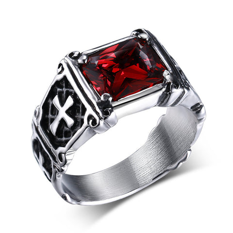 SS Large Crystal Dragon Cross Ring