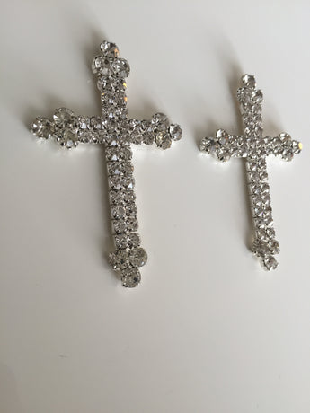 Rhinestone Cross Earrings-earrings-4ever Unicorn Fashion-4ever Unicorn Fashion