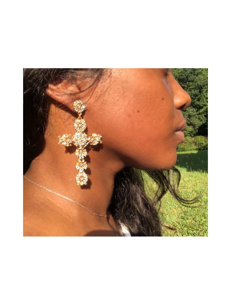 Crystal Cross Earrings - 4ever Unicorn Fashion