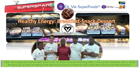 Dr. Vie Superfoods vegan healthy nutritious delicious breakfast snack dessert available at SuperSpar