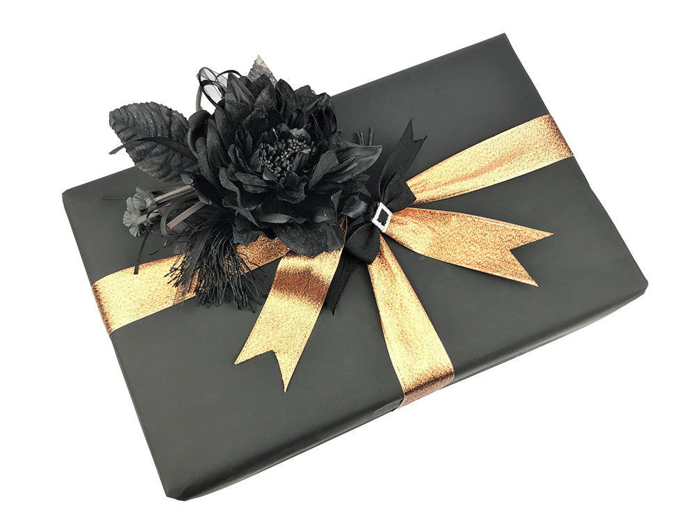 Luxury gift wrap unique gift wrapping kits henty lane designs gift wrap wrapping paper luxury matt black wrapping paper bronze ribbon black bow black flower negle Gallery