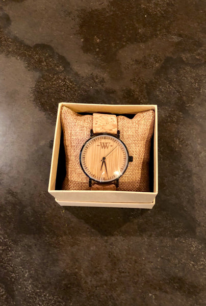 WW Cork Band/ Bamboo Face Watch with Stainless Steel Case
