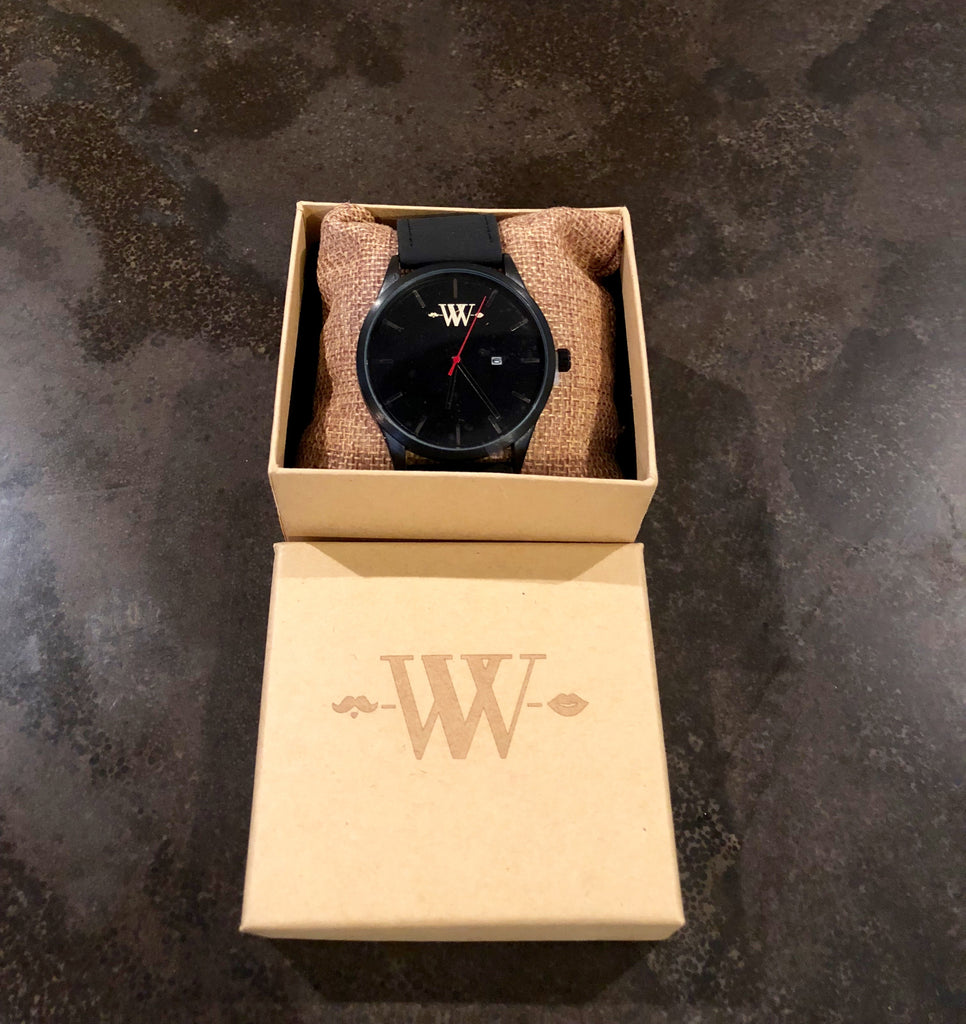 WW Black with Logo Retro Round Wrist Watch With Calendar Display