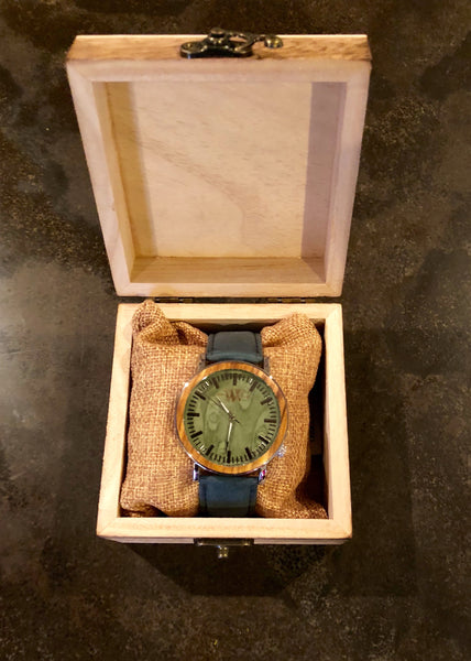 WW Aquatic Blue Leather Band Watch with Wooden Accented Mystic Green Dial