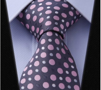 "WW Signature Smoke Gray with Pink and White Polka Dot 3.4"" Silk Woven Men Necktie"