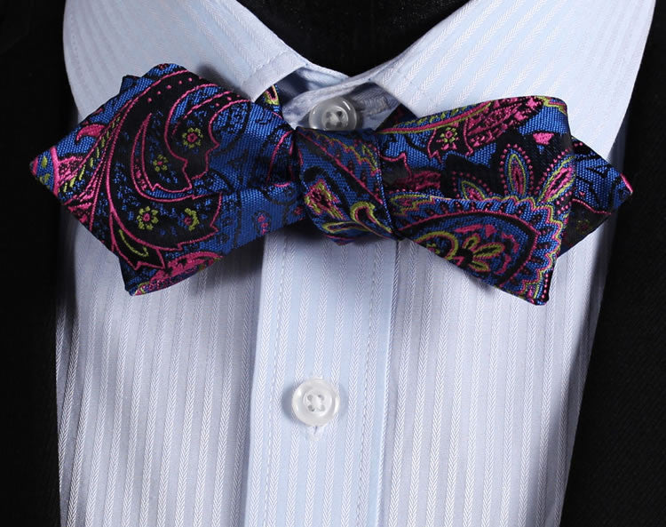 WW Signature Blue, Pink, and Black Multi Colored Paisley Silk Woven Men Self Tie Bowtie