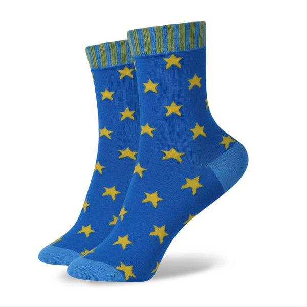 WW Star Pattern Cotton Knit Socks For Women