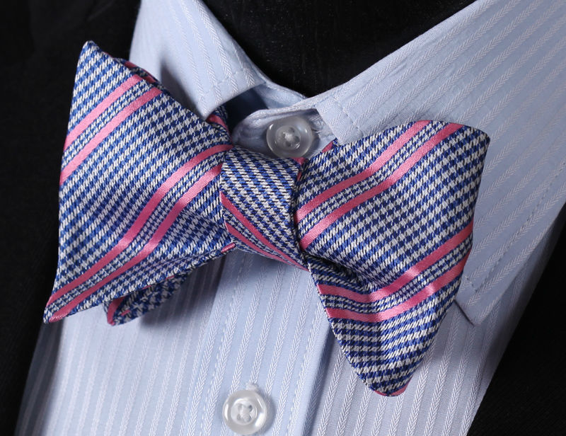 WW Signature Blue Geometric Plaid with Pink Stripe Silk Woven Men Self Tie Bowtie